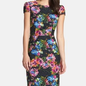 NWT Betsey Johnson Floral Black Sheath Dress 4 NEW